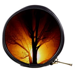 Rays Of Light Tree In Fog At Night Mini Makeup Bags