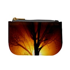 Rays Of Light Tree In Fog At Night Mini Coin Purses