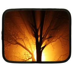 Rays Of Light Tree In Fog At Night Netbook Case (xxl)