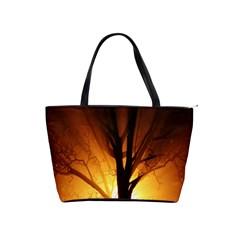 Rays Of Light Tree In Fog At Night Shoulder Handbags