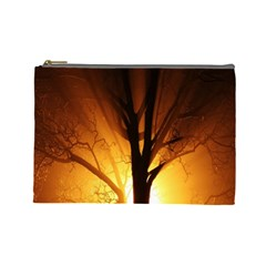 Rays Of Light Tree In Fog At Night Cosmetic Bag (large)