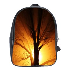 Rays Of Light Tree In Fog At Night School Bags(large)