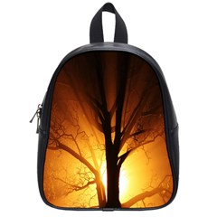 Rays Of Light Tree In Fog At Night School Bags (small)