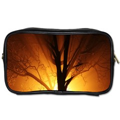 Rays Of Light Tree In Fog At Night Toiletries Bags 2 Side