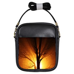 Rays Of Light Tree In Fog At Night Girls Sling Bags