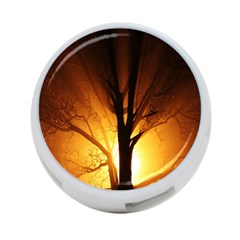Rays Of Light Tree In Fog At Night 4 Port Usb Hub (one Side)