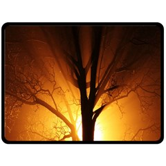 Rays Of Light Tree In Fog At Night Fleece Blanket (large)