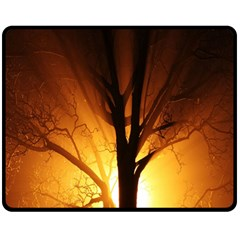 Rays Of Light Tree In Fog At Night Fleece Blanket (medium)