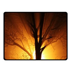 Rays Of Light Tree In Fog At Night Fleece Blanket (small)