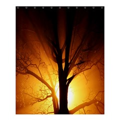 Rays Of Light Tree In Fog At Night Shower Curtain 60  X 72  (medium)