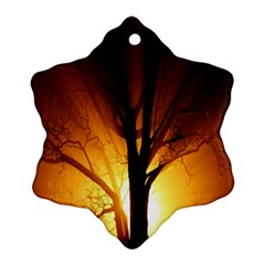 Rays Of Light Tree In Fog At Night Ornament (snowflake)