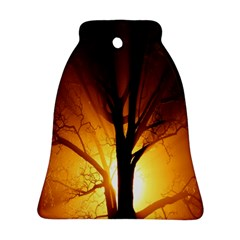 Rays Of Light Tree In Fog At Night Ornament (Bell)