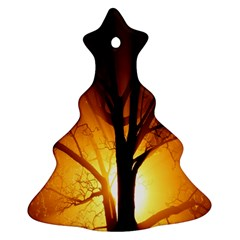 Rays Of Light Tree In Fog At Night Christmas Tree Ornament (two Sides)