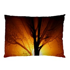 Rays Of Light Tree In Fog At Night Pillow Case (two Sides)