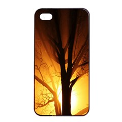Rays Of Light Tree In Fog At Night Apple iPhone 4/4s Seamless Case (Black)