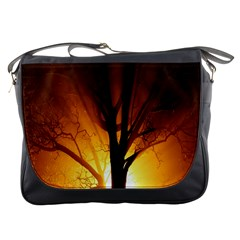 Rays Of Light Tree In Fog At Night Messenger Bags