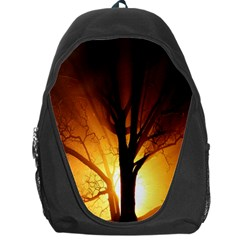 Rays Of Light Tree In Fog At Night Backpack Bag