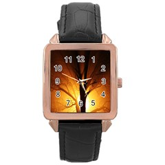 Rays Of Light Tree In Fog At Night Rose Gold Leather Watch