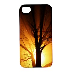 Rays Of Light Tree In Fog At Night Apple Iphone 4/4s Hardshell Case With Stand