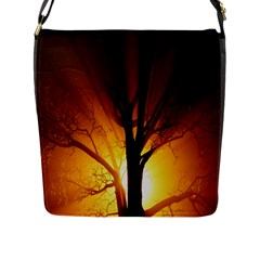 Rays Of Light Tree In Fog At Night Flap Messenger Bag (l)