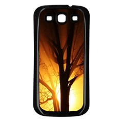 Rays Of Light Tree In Fog At Night Samsung Galaxy S3 Back Case (black)