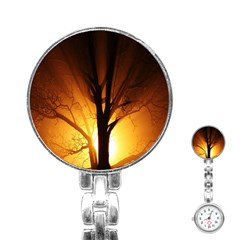Rays Of Light Tree In Fog At Night Stainless Steel Nurses Watch