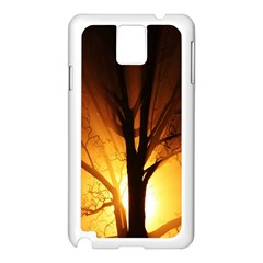 Rays Of Light Tree In Fog At Night Samsung Galaxy Note 3 N9005 Case (white)