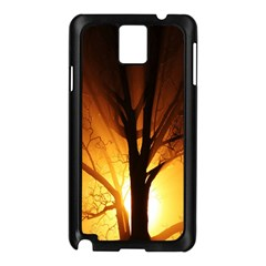 Rays Of Light Tree In Fog At Night Samsung Galaxy Note 3 N9005 Case (black)