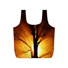 Rays Of Light Tree In Fog At Night Full Print Recycle Bags (s)