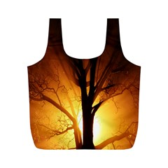 Rays Of Light Tree In Fog At Night Full Print Recycle Bags (m)