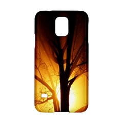 Rays Of Light Tree In Fog At Night Samsung Galaxy S5 Hardshell Case