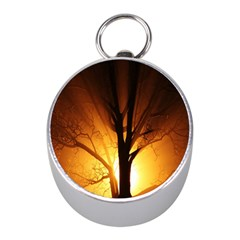 Rays Of Light Tree In Fog At Night Mini Silver Compasses