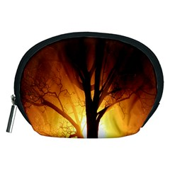 Rays Of Light Tree In Fog At Night Accessory Pouches (medium)