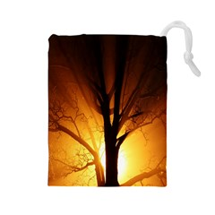 Rays Of Light Tree In Fog At Night Drawstring Pouches (large)
