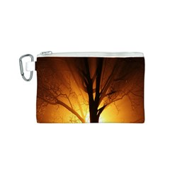 Rays Of Light Tree In Fog At Night Canvas Cosmetic Bag (S)