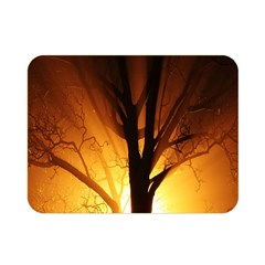 Rays Of Light Tree In Fog At Night Double Sided Flano Blanket (mini)