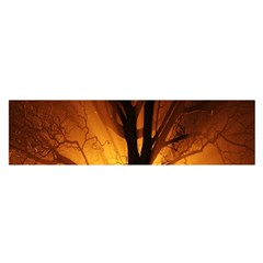 Rays Of Light Tree In Fog At Night Satin Scarf (oblong)
