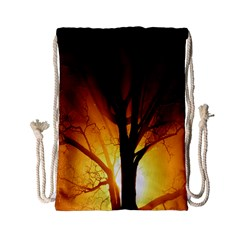 Rays Of Light Tree In Fog At Night Drawstring Bag (small)