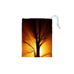 Rays Of Light Tree In Fog At Night Drawstring Pouches (xs)