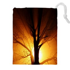 Rays Of Light Tree In Fog At Night Drawstring Pouches (xxl)