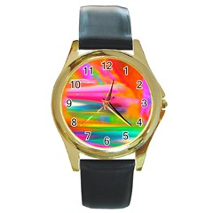 Abstract Illustration Nameless Fantasy Round Gold Metal Watch
