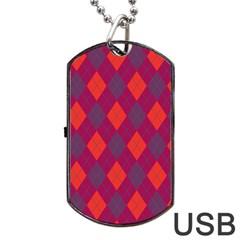 Plaid pattern Dog Tag USB Flash (Two Sides)