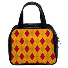 Plaid pattern Classic Handbags (2 Sides)