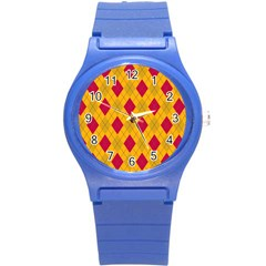 Plaid pattern Round Plastic Sport Watch (S)