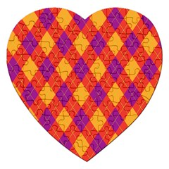 Plaid pattern Jigsaw Puzzle (Heart)
