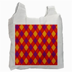 Plaid pattern Recycle Bag (One Side)