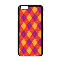 Plaid pattern Apple iPhone 6/6S Black Enamel Case