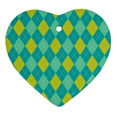 Plaid pattern Heart Ornament (Two Sides)
