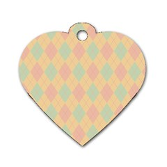 Plaid pattern Dog Tag Heart (One Side)