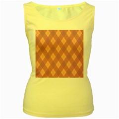 Plaid pattern Women s Yellow Tank Top